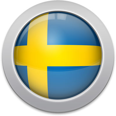 Swedish flag icon with a silver frame