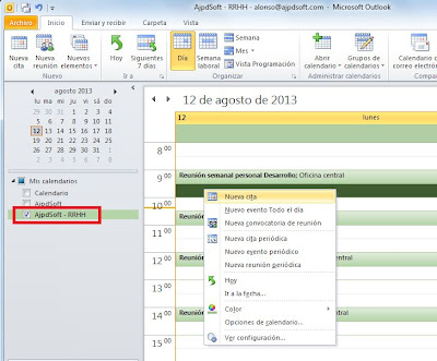 Crear calendarios adicionales en Microsoft Outlook 2010