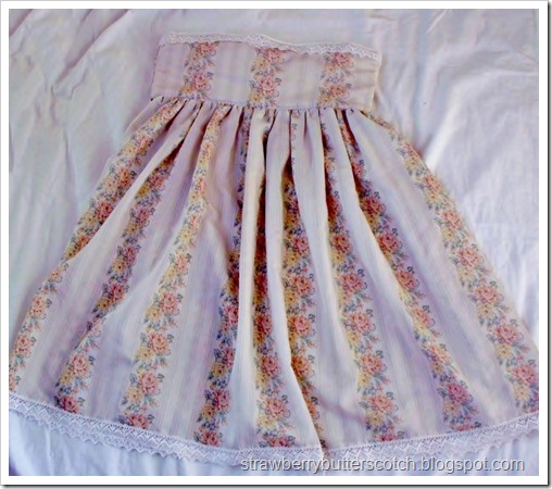 Transforming a vintage style dress to a high-waisted skirt.