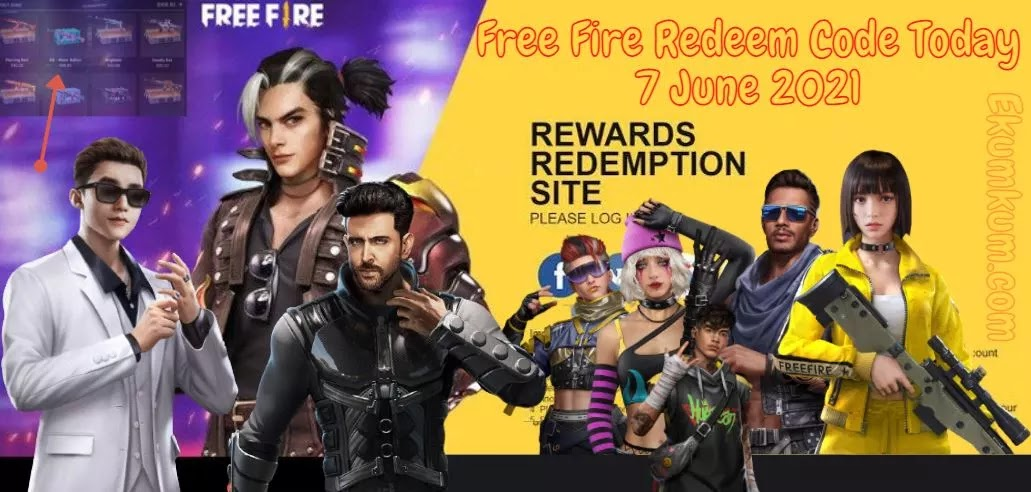 Free Fire Redeem Code 7 June 2021 FF | Free Fire Redeem Code Today Indian Server - FF Redeem Code 2021 Today New India 7 - 8 June 2021