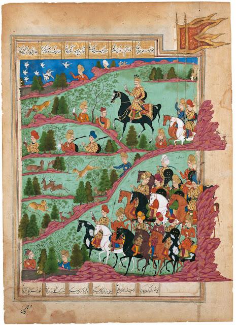 """Shirin praying and Khusrau hunting,"" a Hyberabadi miniature painting c.1720-40"