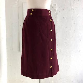 Chanel Burgundy Wool Skirt