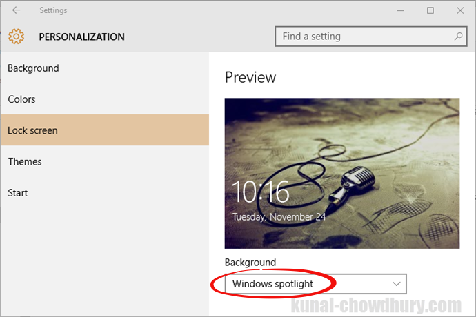 Windows 10 November Update - Lock Screen image from Windows Spotlight (www.kunal-chowdhury.com)