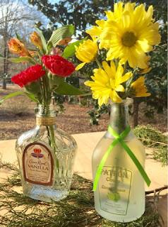 Liquor bottles as vases