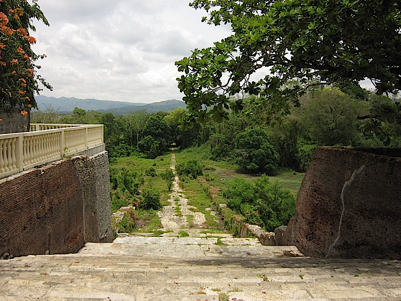 stairs at the back of the Church of Nuestra Señora de la Asuncion in Santa Maria, Ilocos Sur looking towards a path through the woods