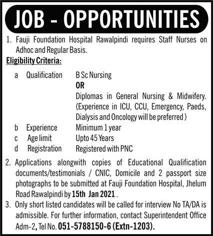 Fauji Foundation Hospital Jobs 2021