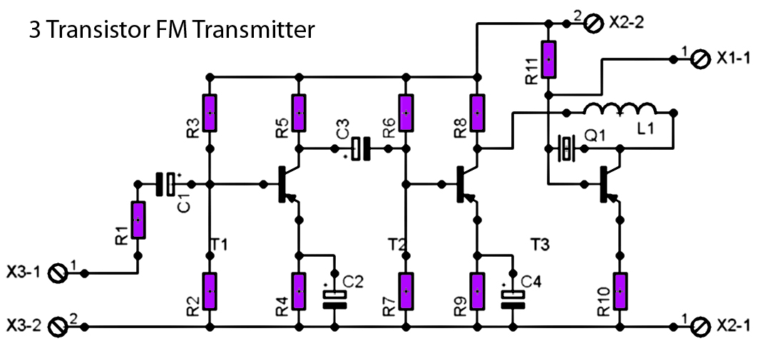 fm radio transmitter schematic with pcb schematic diagram