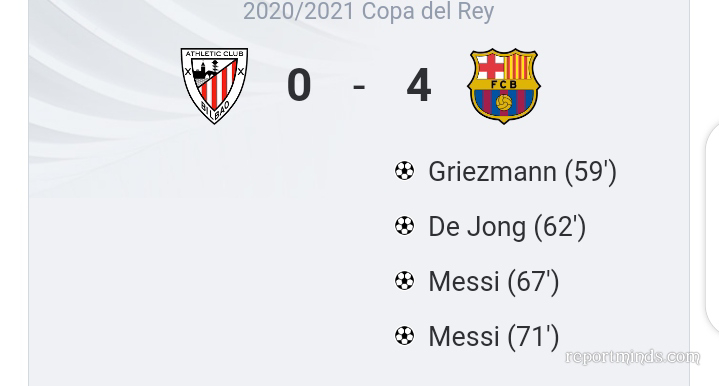 Copa del Rey Final: Lionel Messi double inspires Barcelona to a 4-0 thrashing of Athletic Bilbao as Koeman lift first silverware as manager (Highlights) 2020-2021
