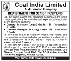 Coal India Limited Senior Positions 2017 www.indgovtjobs.in