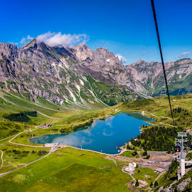 An eternal mirror. by Arijit Sharma - Landscapes Mountains & Hills ( sky, mountain, mountains reflections, cable car, lakes )