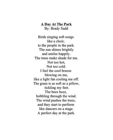 Brady's Blog: My Free Verse Poem