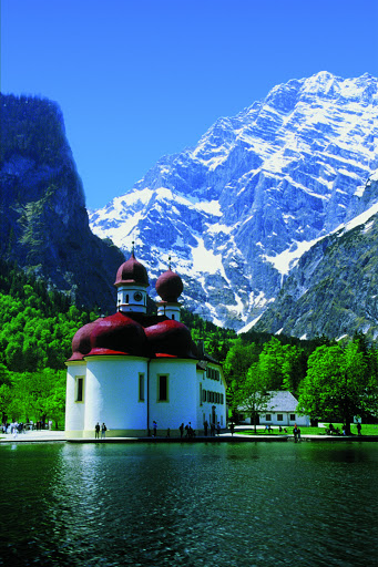 St. Bartholomew's chapel on lake Königssee. From Driving the Alpine Road in Germany