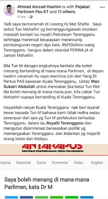 Dr. Mahathir bin Mohamad sila datang bertanding di Parlimen Kuala Terengganu