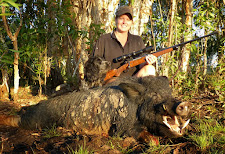 Sheree with a fantastic wild boar taken in August with her custom Mauser 9.3x62