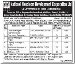 National Handloom Development Corporation Advertisement 2017 www.indgovtjobs.in