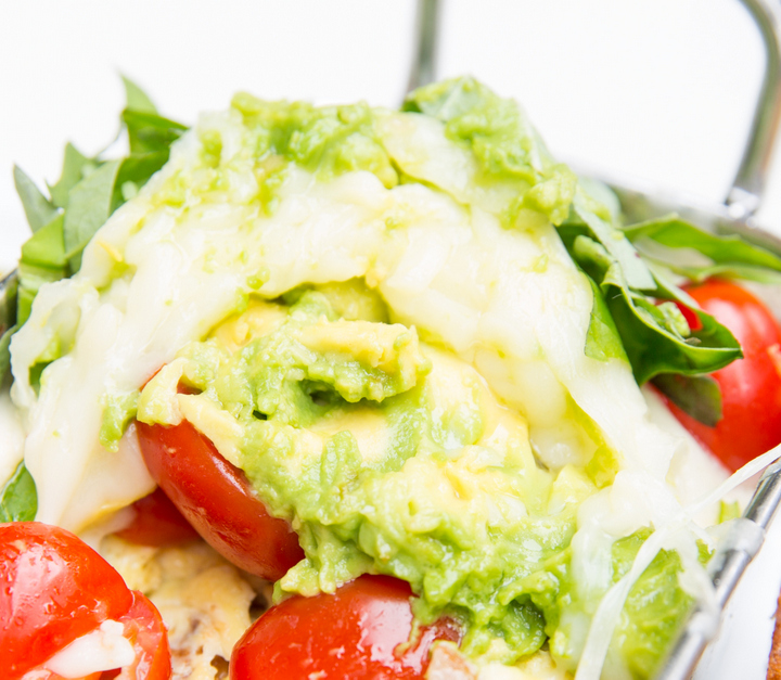 close-up photo of the avocado scramble