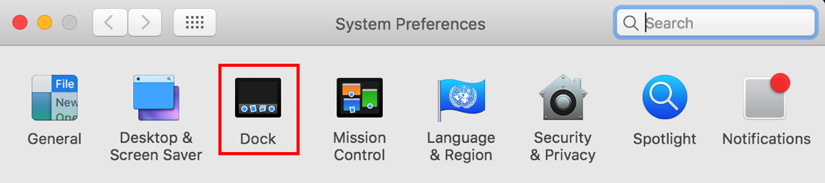 6 Dock preference highlighted