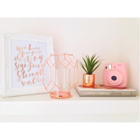 Prettily painted shelf decor for Room decor rose gold