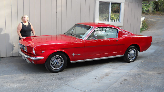 My wife Marlene, she has driven this 66 fastback for 24 years, EVERYDAY! 302 with AOD Trans.
