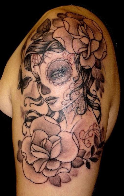 menina_de_açcar_crnio_de_tatuagem_para_homens