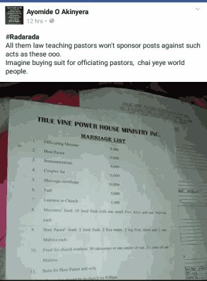 Checkout this Nigerian church where couples must buy suits for pastor and his wife before they wed (Photos)