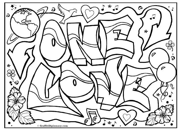 One Love Graffiti Free Coloring Page Graffiti Printable Free Graffiti  Tutorials
