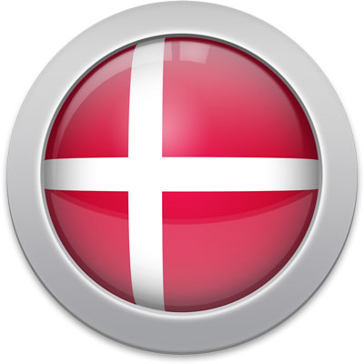 Danish flag icon with a silver frame