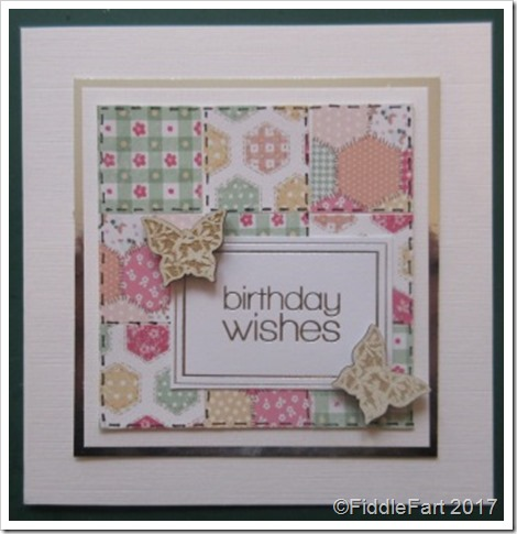 Patchwork birthday Card with Butterflies
