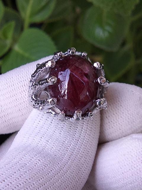 Nhẫn nữ đá Ruby thiên nhiên, bạc 925