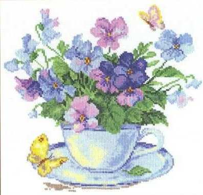 Instant Cross Stitch Patterns | Purple Wild Flowers Cross Stitch