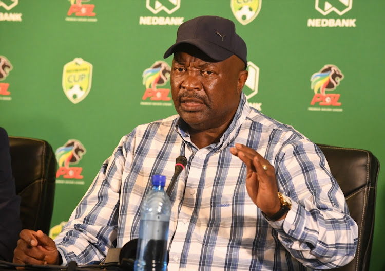 Jomo Sono during a press conference at PSL Headquarters.