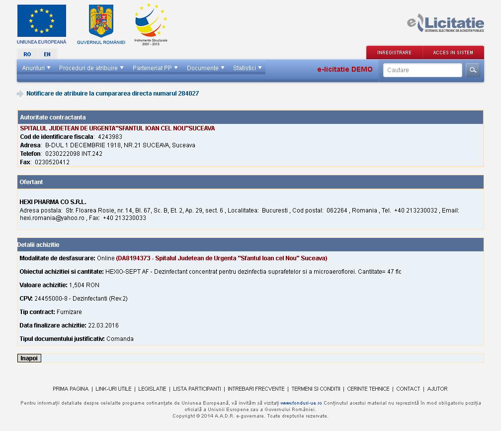 Dovada că Spitalul Județean Suceava a cumpărat Hexio-Sept AF (Thor) la data de 22 martie 2016