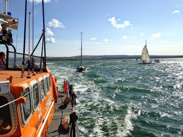 View from aboard the ALB as it tows a yacht. 3 August 2014.  Photo credit: Alex Evans