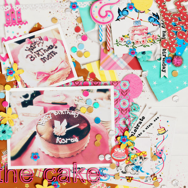 The Cakes // Scrapbook Layout // 12x12 // They Say It's Your Birthday by Jenn Barrette