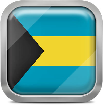 Bahamas square flag with metallic frame