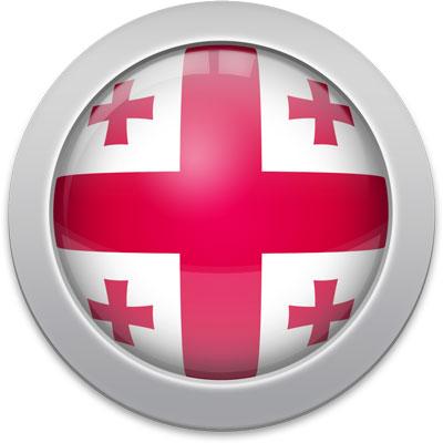 Georgian flag icon with a silver frame