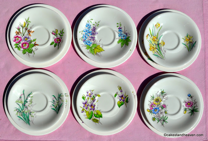 Six Flower of the Month Saucers