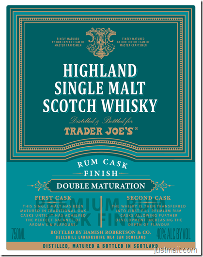 Highland Single Malt Scotch Rum Cask Finish For Trader Joe's