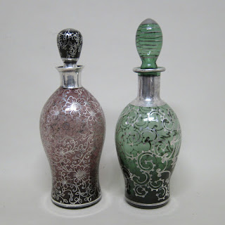 Sterling Silver Painted Glass Bottle Pair