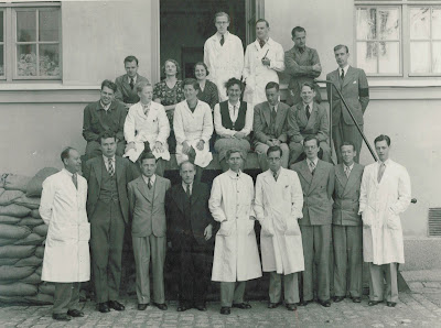 Elmer Kraemer, front row, third from left, and Wallace Carothers, front row to right of Kraemer, pose circa the 1930's next to the DuPont advanced chemistry research teams they led that invented polyester and nylon