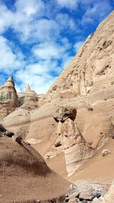 Kasha-Katuwe Tent Rocks National Monument. Some of the structures have caprocks perched on top of them; an amazing balancing act on the part of Mother Nature. This one looked like a little person