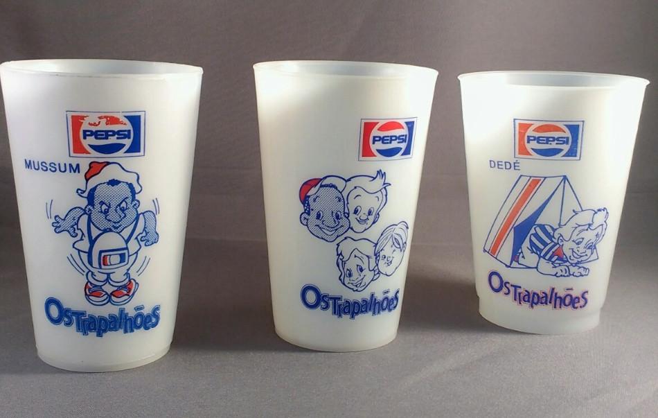 Campanha de lançamento de ação promocional da Pepsi para promover os copos colecionáveis dos Os Trapalhões em 1988