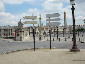 The Obelisk at Place de la Concorde at one end of the Champs Elysees