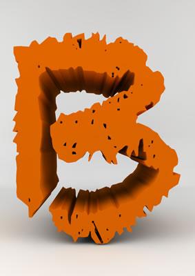 lettre 3D chiffron de craie orange - B - images libres de droit