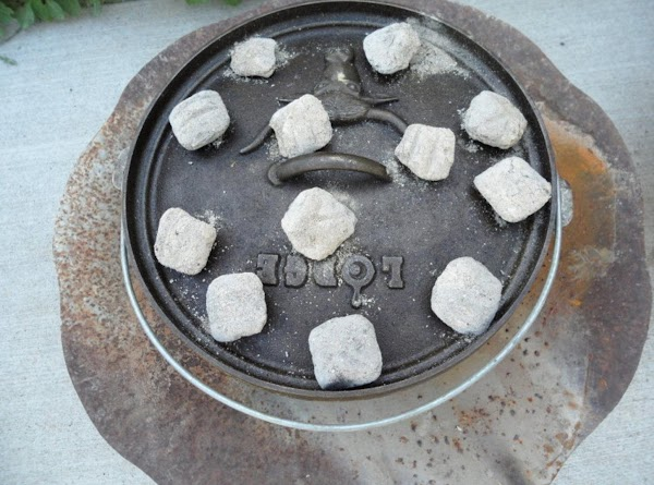 """For a 12"""" dutch-oven put 12 hot coals under dutch oven and put about..."""