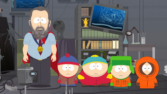 "Al Gore, wearing his Nobel Prize medal, with the cast of South Park, in Season 22, Episode 6, ""Time to Get Cereal"". Graphic: Comedy Central"