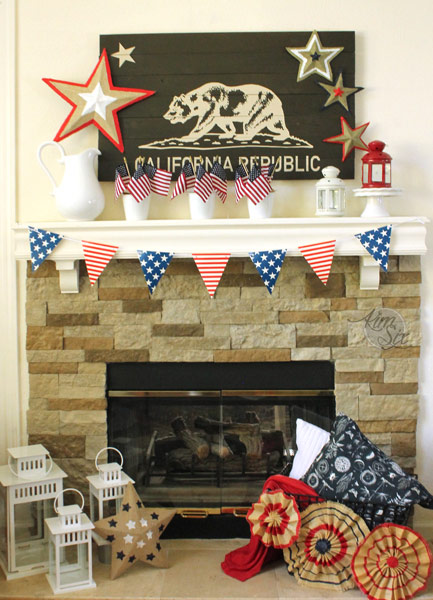 Patriotic Fourth Of July Stars And Stripes Mantel
