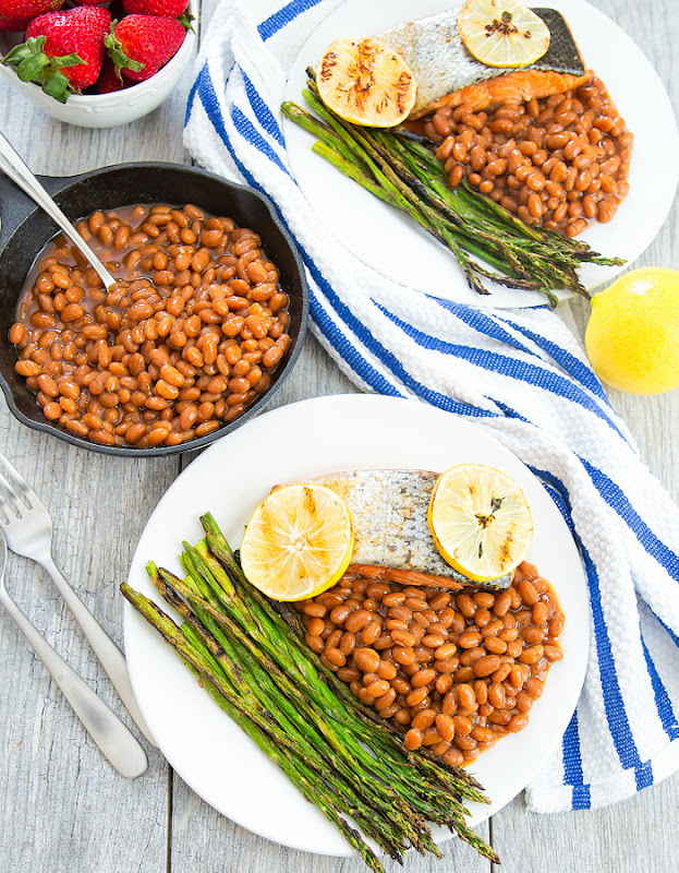 overhead photo of Brown Sugar Glazed Salmon with baked beans and asparagus