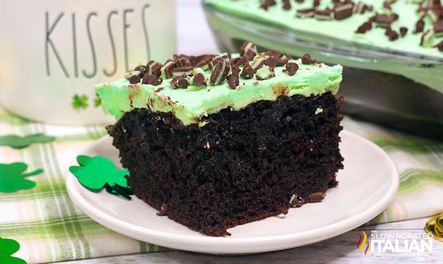Andes mint cake on a white plate