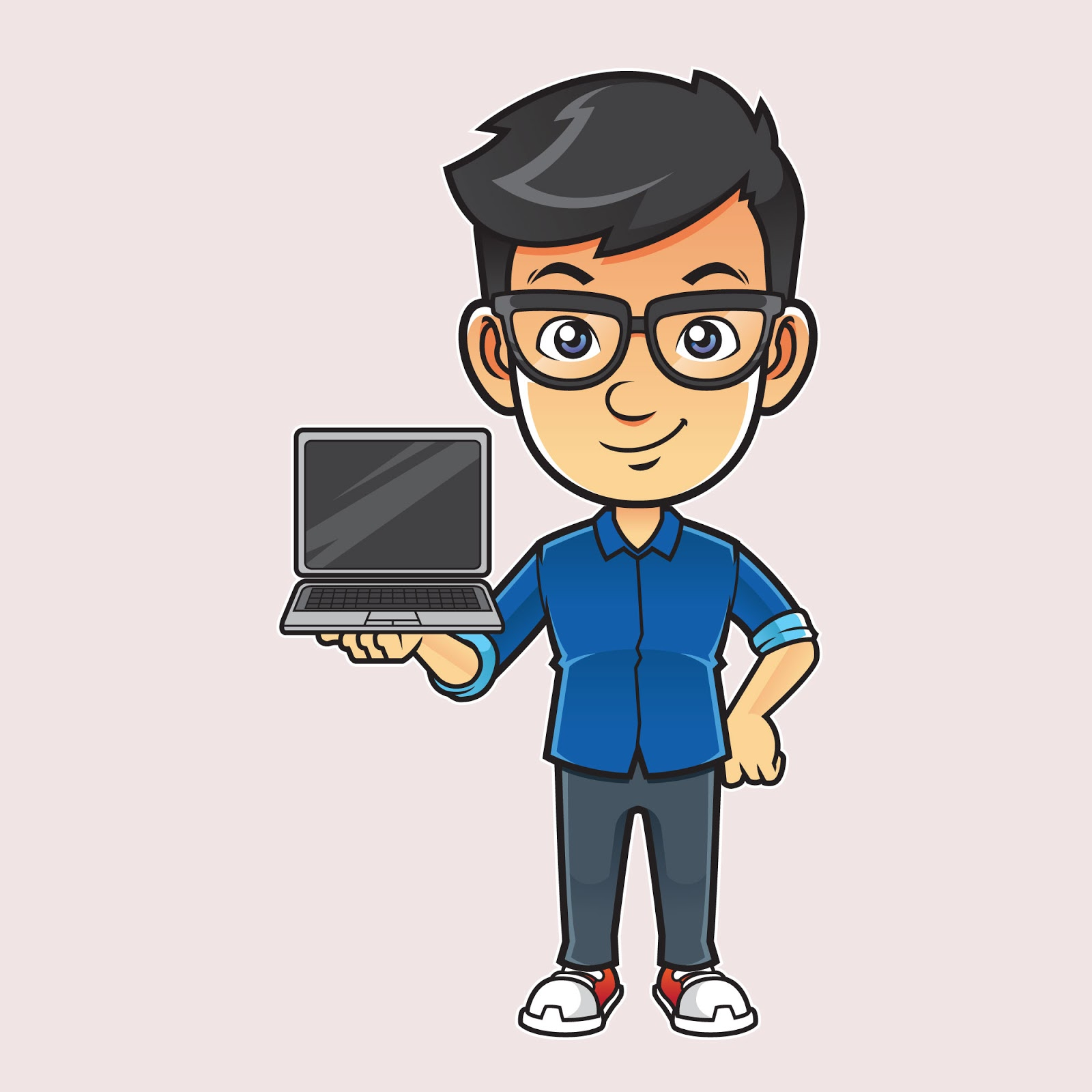 Geek Sales Guy Illustration Free Download Vector CDR, AI, EPS and PNG Formats